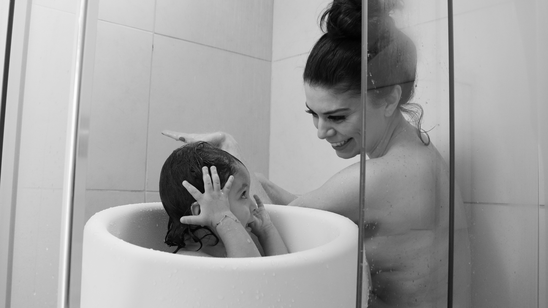 Banho recem nascido chuveiro